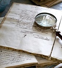 Writing and magnifying glass